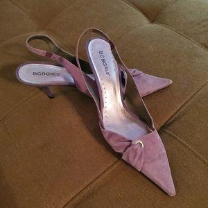 Lavender Suede Slingback Pointed Toe Heels